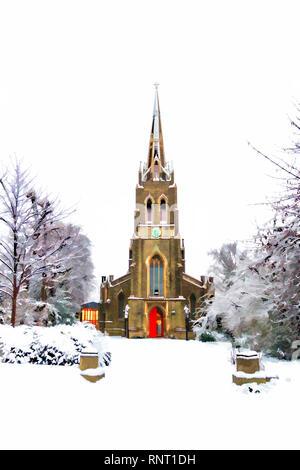 Une carte de Noël, peinture style image de Saint Michael's Church dans la neige, de l'Oliveraie, Highgate Village, London, UK