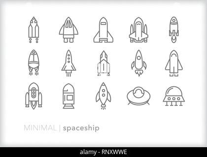 Ensemble de 15 icônes de ligne de vaisseau spatial de l'astronaute et fusées exotiques Banque D'Images