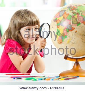 Dessin Fille Planète Terre Dans L Air Banque D Images Photo