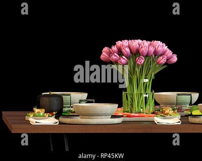 Cuisine de rendu 3d jeu de table Banque D'Images