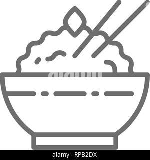 Bol de riz cuit icône ligne. Isolé sur fond blanc