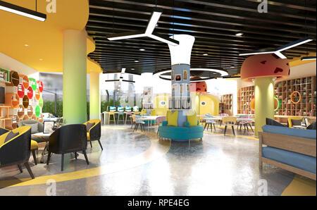 Le rendu 3D de l'intérieur de l'école pour les enfants Banque D'Images