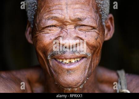 Portrait d'un aîné de Bushman le peuple San, Kalahari, Namibie, Afrique Banque D'Images