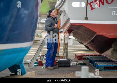 La vie dans l'île de Man de Port Erin Banque D'Images