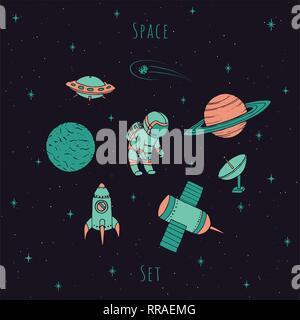 Vecteur dessiné à la main les éléments d'espace: cosmonaute, satelites, rocket, planètes, étoiles chute et OVNI. Cosmos coloré situé sur le fond étoilé. Banque D'Images