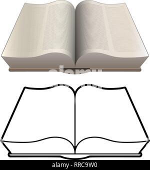 Livre ouvert, bible, encyclopédie, style classique, l'illustration vectorielle isolés dans les deux couleurs détaillées et noir les versions de dessin Banque D'Images