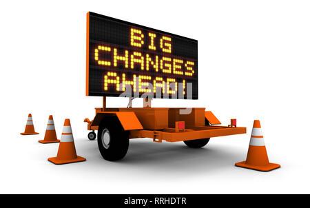 """Rendu 3D haute résolution de la construction inscription message board et les cônes avec message """"GRANDS CHANGEMENTS À VENIR!"""". Banque D'Images"""