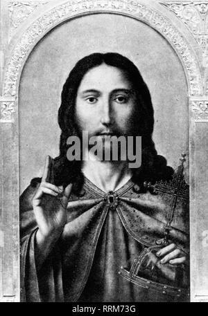Jésus Christus,probablement 4 BC - 30 / 31 AD, prêcheur itinérant juif et fondateur d'une religion, portrait, peinture, atelier de Quentin Massys, vers 1510 - 1525, National Gallery, Londres, l'artiste n'a pas d'auteur pour être effacé Banque D'Images