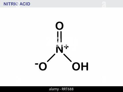 Molécule d'acide nitrique illustration. Contours noirs sur fond blanc. Banque D'Images