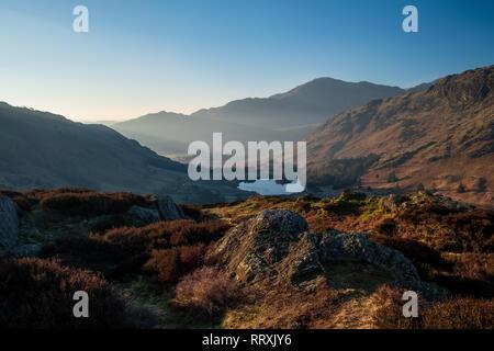 Crepescular dans peu de lumière tôt le matin, plus de Langdale Blea Tarn, d'un côté le brochet (vue large), Lake District, UK Banque D'Images
