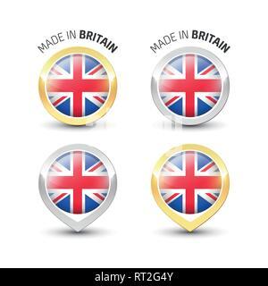 Faites en Grande-Bretagne Royaume-uni - label garanti avec le pavillon du Royaume-Uni l'intérieur de ronde des icônes d'or et d'argent. Banque D'Images