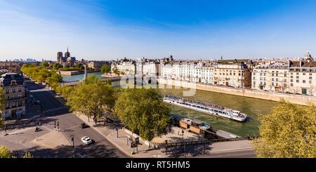 France, Paris, paysage urbain avec la Seine et Notre Dame Banque D'Images