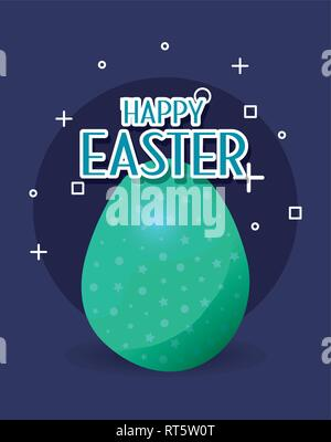 Green Egg Joyeuses pâques card vector illustration Banque D'Images