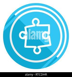 Design plat Puzzle icône web bleu, facile à éditer vector illustration pour webdesign et applications mobiles Banque D'Images