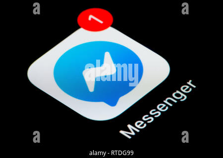 Un gros plan de l'icône de l'application Facebook Messenger, comme on le voit sur l'écran d'un téléphone intelligent (usage éditorial uniquement) Banque D'Images