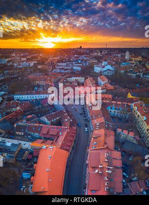 VILNIUS, LITUANIE - vue aérienne de la vieille ville de Vilnius