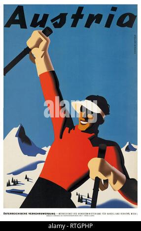 Ski Autriche Vinatge affiche promotionnelle Banque D'Images