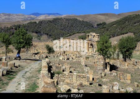 Ruines de l'antique ville Cuicul, Djemila, Sétif, Algérie Province Banque D'Images