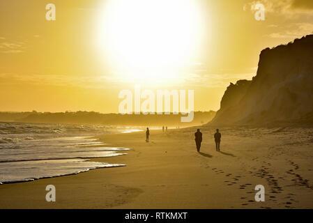 Le soleil se couche sur la plage Praia da Falesia, une étendue de sable près de 7km de longueur, Albuferia, Algarve, Portugal, Europe.
