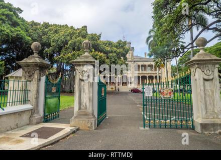 Iolani Palace le 6 août 2016 à Honolulu, Hawaii. L'Iolani Palace est le seul palais royal aux États-Unis et a été la maison pour Hawaiian King. Banque D'Images