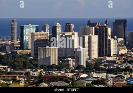 Édifices du centre-ville d'Honolulu, Oahu, Hawaii, USA Banque D'Images