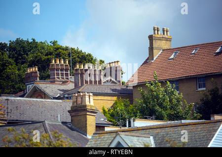 Pots,cheminée,terrasse,toitures, maisons, ridge,600x600, gable,FIN,se termine, Banque D'Images