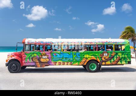 Didi plein air's Tour Bus, Eagle Beach, Oranjestad, Aruba, District Îles ABC, Antilles, Caraïbes sous le vent