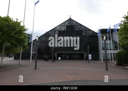 Entrée du public pour le Scottish Exhibition Centre (SEC), Glasgow, Scotland UK Banque D'Images
