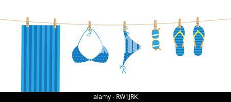 Blue Beach articles accrocher sur une serviette , lunettes de bikini et tongs vector illustration EPS10 Banque D'Images