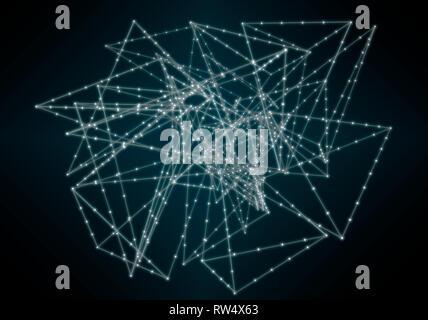 Image abstraite de réseau neuronal sur fond noir Banque D'Images