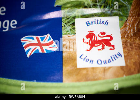 Marque de qualité lion et de l'Union, sur un pack d'œufs britannique Banque D'Images
