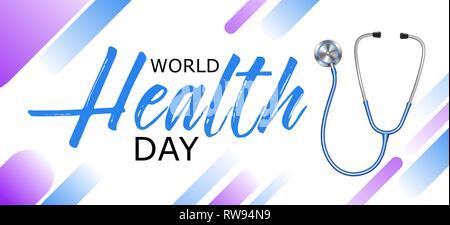 La journée mondiale de la santé conception avec stéthoscope, bannière, affiche, concept de vie sain, vector illustration. Banque D'Images