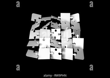 Illustration 3d et de rendu de jigsaw puzzle pieces sur fond sombre. Banque D'Images