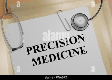3D illustration de la MÉDECINE DE PRÉCISION titre sur un document médical Banque D'Images