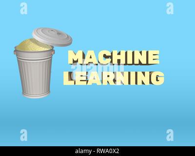 Rendu 3D illustration de poubelle contenant cerveau humain, remplacé par l'apprentissage automatique. AI concept de remplacement inévitable de l'esprit humain. Banque D'Images