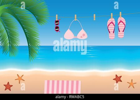 Des vacances tongs et bikini lunettes accrocher sur une corde sur la plage illustration vecteur EPS10 Banque D'Images