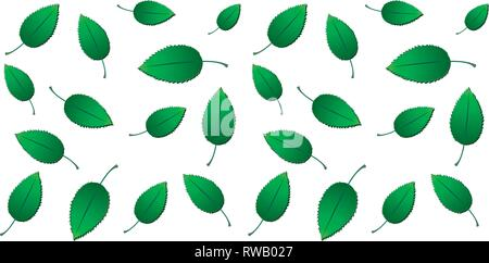 Sans frais du printemps fond vert eco avec gradient de feuilles isolées sur fond blanc, vector illustration Banque D'Images