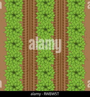 Arrière-plan de masse marron avec buissons verts et les traces de pneus Banque D'Images