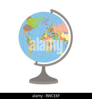 World globe sur un stand. Carte politique du monde. Vector illustration. Banque D'Images
