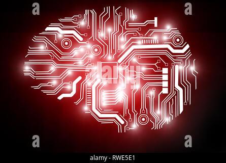 Le rendu 3D d'une image conceptuelle représentant l'Intelligence Artificielle. Banque D'Images