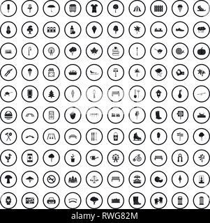 100 park icons set dans un style simple Banque D'Images