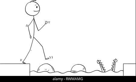 Caricature de l'homme ou homme marchant sur les pierres pour obtenir plus d'Obstacle d'eau Banque D'Images