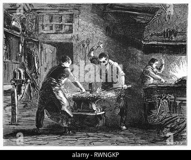 """Les forgerons façonnage du métal, les coups de massue de la propagation horizontale du feu d'une fontaine, où la face noire du forgeron a été brillamment allumé, Haarlem, Pays-Bas. À partir de la Camera Obscura, une collection d'humour néerlandais-réalistes d'essais, de récits et les croquis dans lequel Hildebrand, l'auteur, prend un regard ironique sur le comportement de la """"bien-to-do', les trouvant bourgeois et sans un mot pour eux. Banque D'Images"""