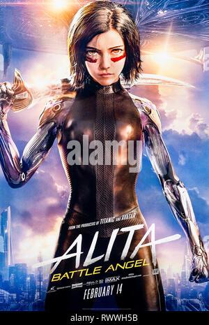 Alita: Battle Angel (2019) réalisé par Robert Rodriguez et avec Rosa Salazar, Christoph Waltz et Jennifer Connelly. Une femme cyborg combat en arrière.