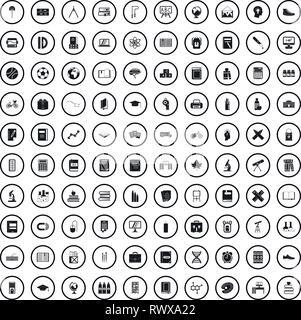 100 school icons set dans un style simple Banque D'Images