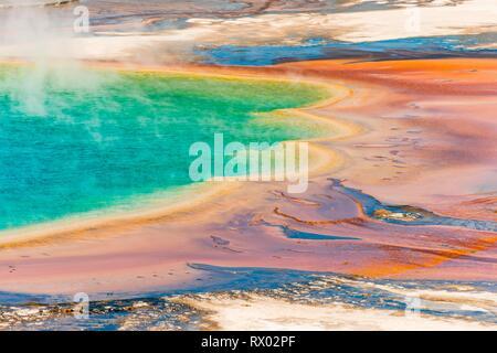 Les dépôts de minéraux colorés au bord sr la vapeur chaude du printemps, photo détail, Grand Prismatic Spring, Midway Geyser Basin