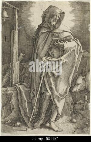 Saint Anthony. Lucas van Leyden, Russisch; 1494-1533. Date: 1516-1526. Dimensions: 113 x 75 mm (image/feuille, parés à l'intérieur d'une plaque d'interrogation). Gravure en noir sur papier vergé ivoire. Origine: Pays-Bas. Musée: le Chicago Art Institute. Banque D'Images