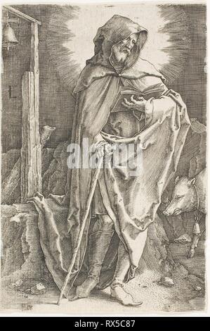 Saint Anthony. Lucas van Leyden, Russisch; 1494-1533. Date: 1515-1525. Dimensions: 112 x 75 mm (image/feuille, parés à l'intérieur d'une plaque d'interrogation). Gravure en noir sur papier vergé ivoire. Origine: Pays-Bas. Musée: le Chicago Art Institute. Banque D'Images