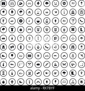100 spring icons set dans un style simple Banque D'Images