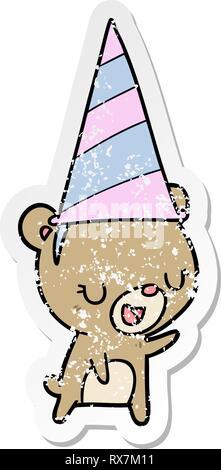 Autocollant en détresse d'un cartoon bear wearing party hat Banque D'Images